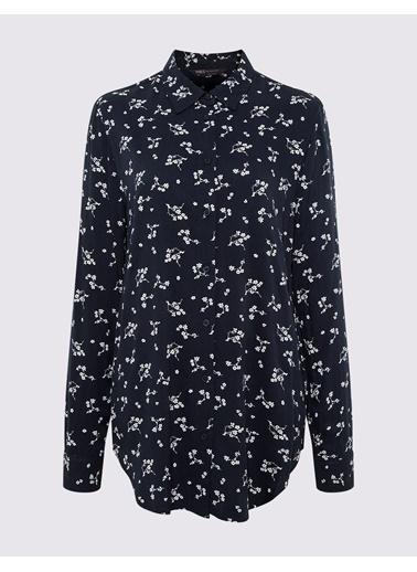 Marks & Spencer Çiçek Desenli Gömlek Lacivert